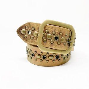 Vintage 90's bronze metallic studded leather belt